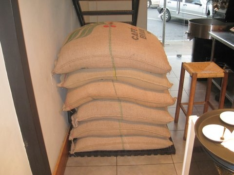 sacks of coffee in the market